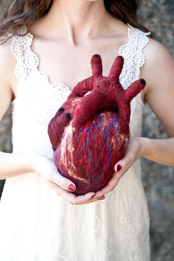 HeartFelt (XL) - Anatomical Heart - Needle Felted Organ | Classic ...