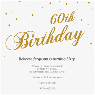 60th golden flakes printable invitation template customize add