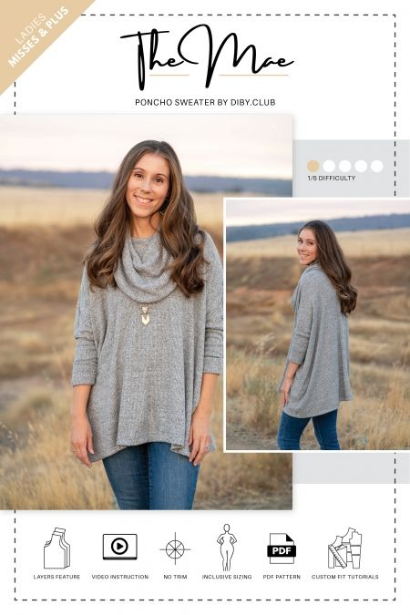 The Mae Poncho Sweater PDF Sewing Pattern | Schnittmuster plus size ...