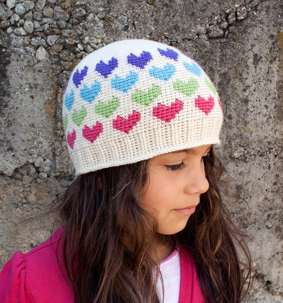 Crochet Pattern-- All Ages Hearts Abound Beanie --Crochet Pattern ...