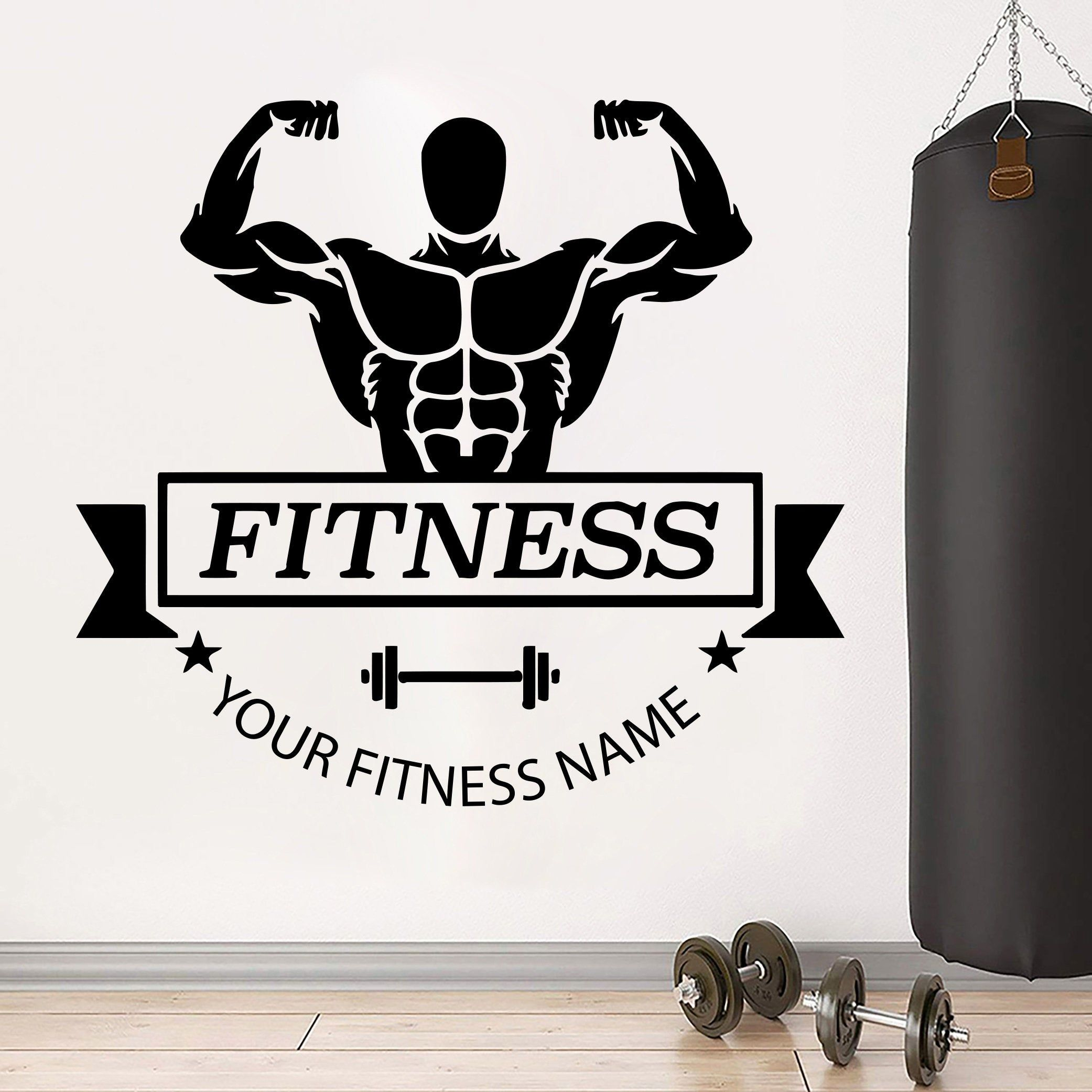 Fitness Decor Art Quotes Gym Stickers Fitness Wall Art Gifts Etsy Fitness Wall Art Wall Art Gift Motivational Sticker