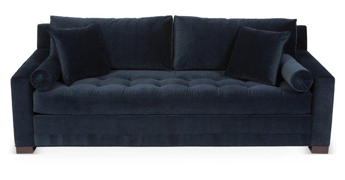 """Cameo 92"""" Velvet Sofa, Navy Velvet tufted sofa, Velvet"""