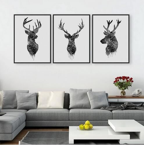 3 Piece Modern Abstract Art Painting Black White Deer Home Living Room Wall Decoration Artwork Hd Print Picture Canvas Unframed Modern Art Abstract Wall Art Pictures Modern Art Paintings Abstract