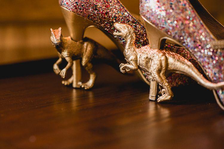 Dinosaur Shoes Heels Bride Bridal Gold Glitter Whimsical Jurassic Park Outdoor Wedding http://barneywalters.com/