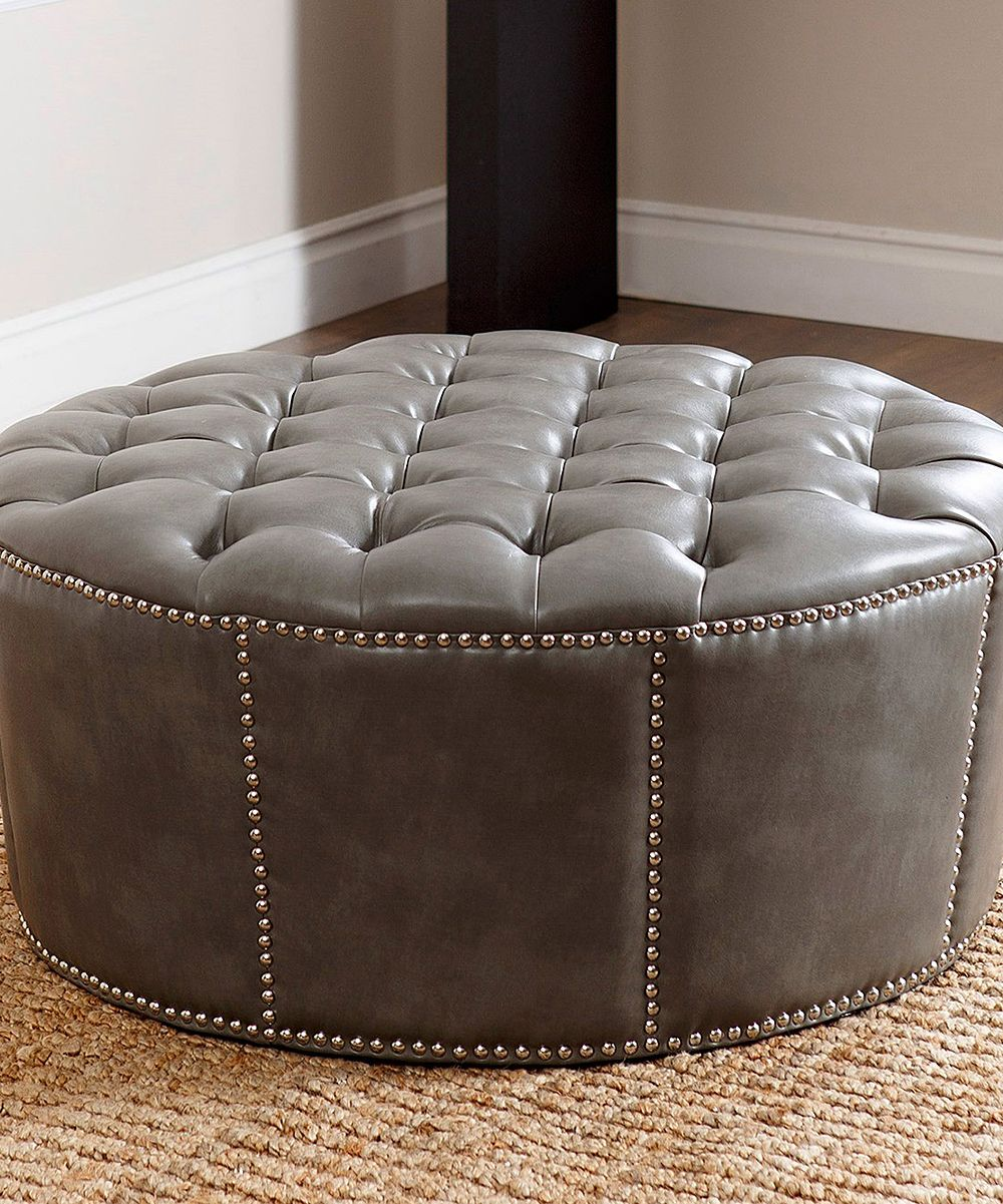 Cool Gray Rae Nailhead Trim Leather Ottoman Products Leather Theyellowbook Wood Chair Design Ideas Theyellowbookinfo