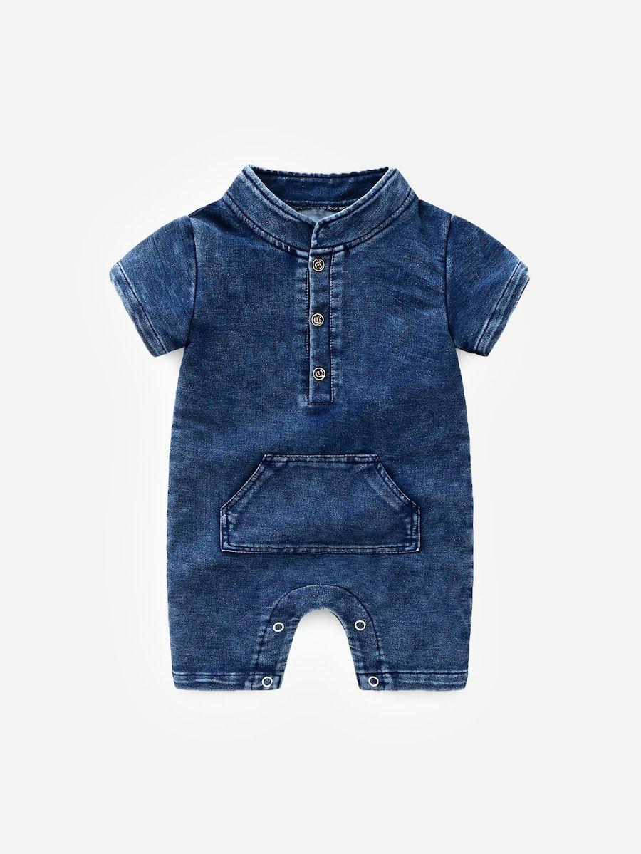 85f1484cc Toddler Boys Pocket Detail Solid Denim Jumpsuit -SheIn(Sheinside ...