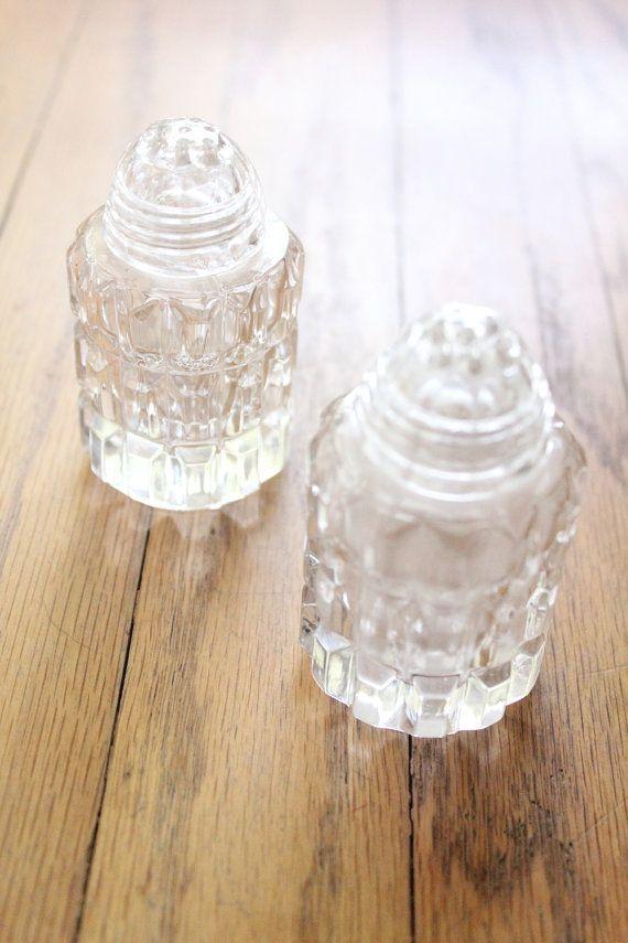 Vintage 40s Crystal Salt And Pepper Shakers By Tiptoecurio