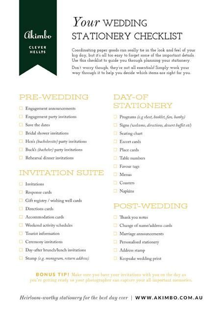 Your Wedding Stationery Checklist  Wedding Stationary Weddings