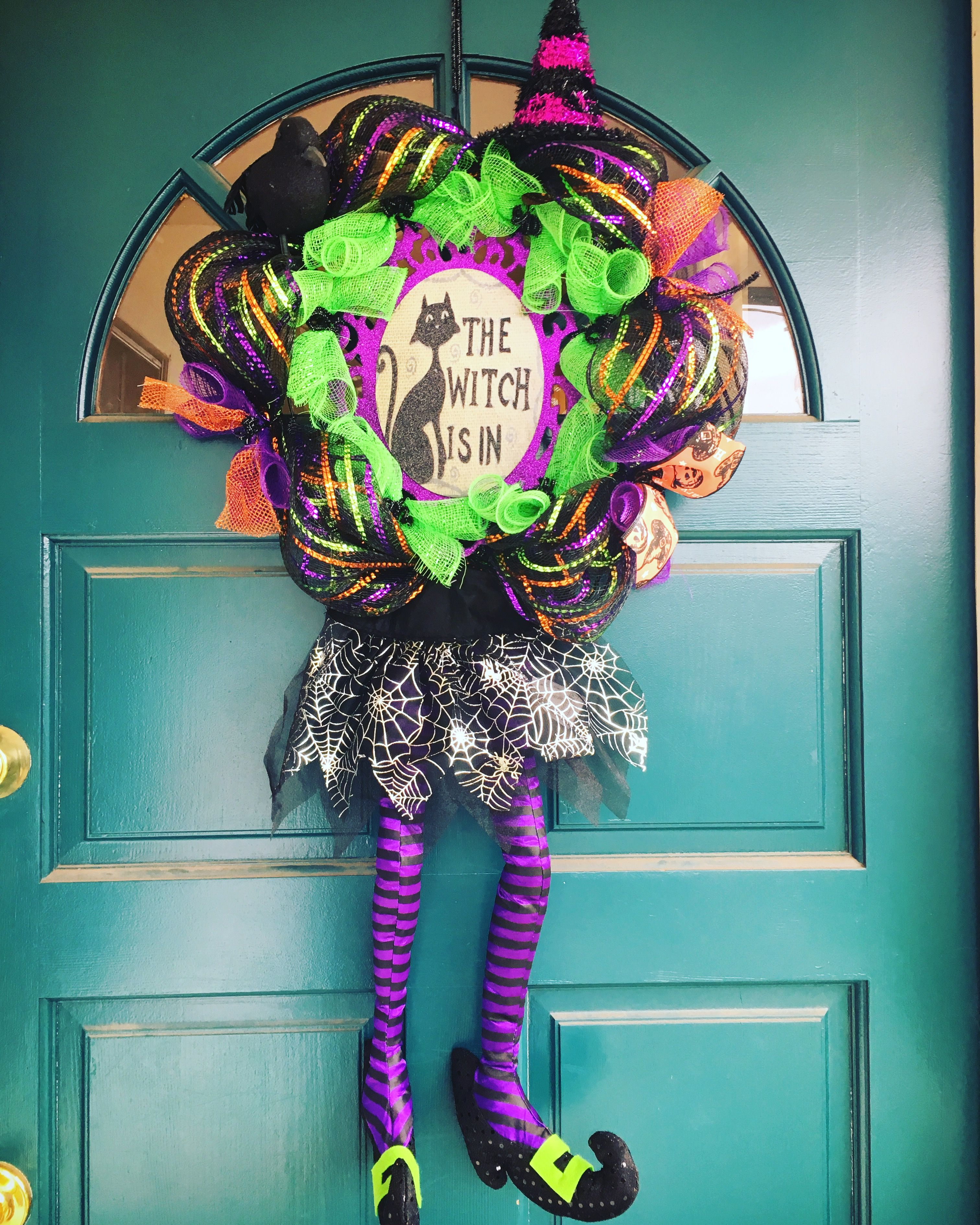 Witch mesh Halloween wreath- from Michaels (witch skirt & legs and ...
