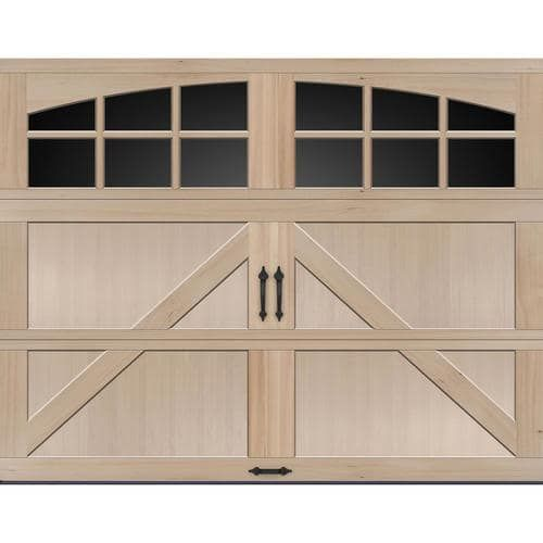 Ideal Door Reg Carriage House 9 Ft X 7 Ft Hemlock Premium Insulated Garage Door With Arched Windows Garage Doors Garage Insulation Arched Windows
