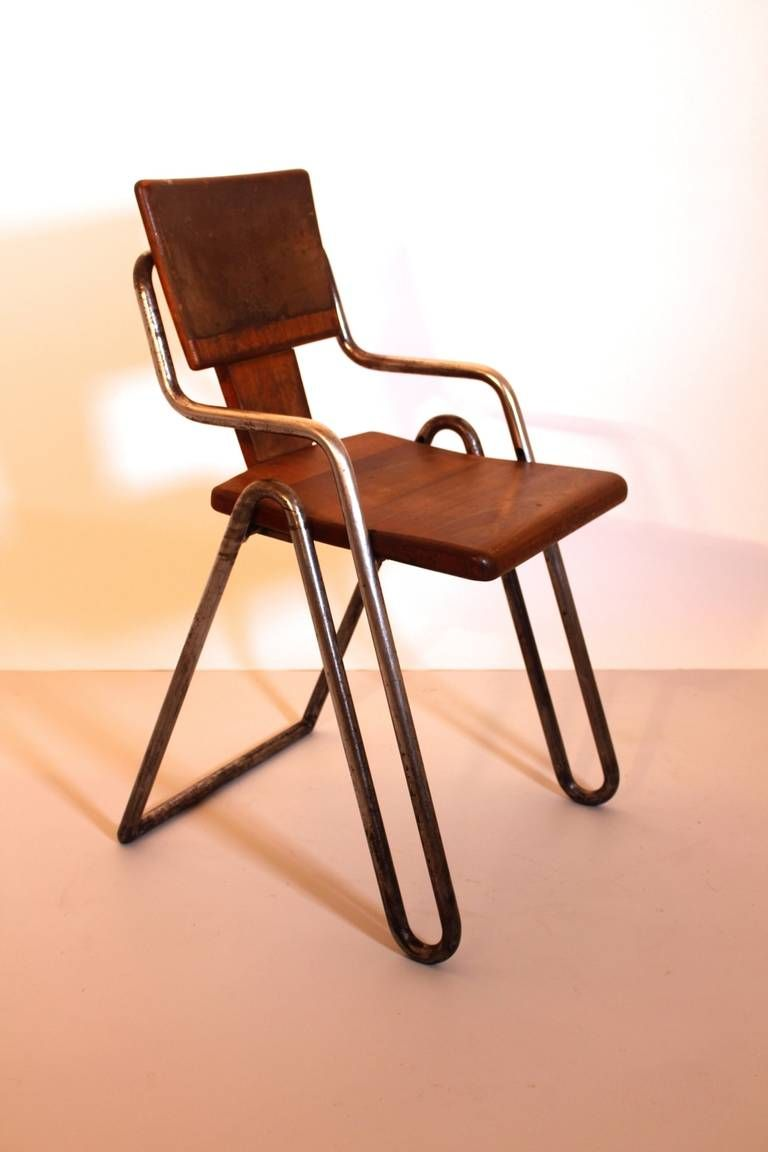 Bauhaus Industrial Tubular Steel Chair by Peter Behrens