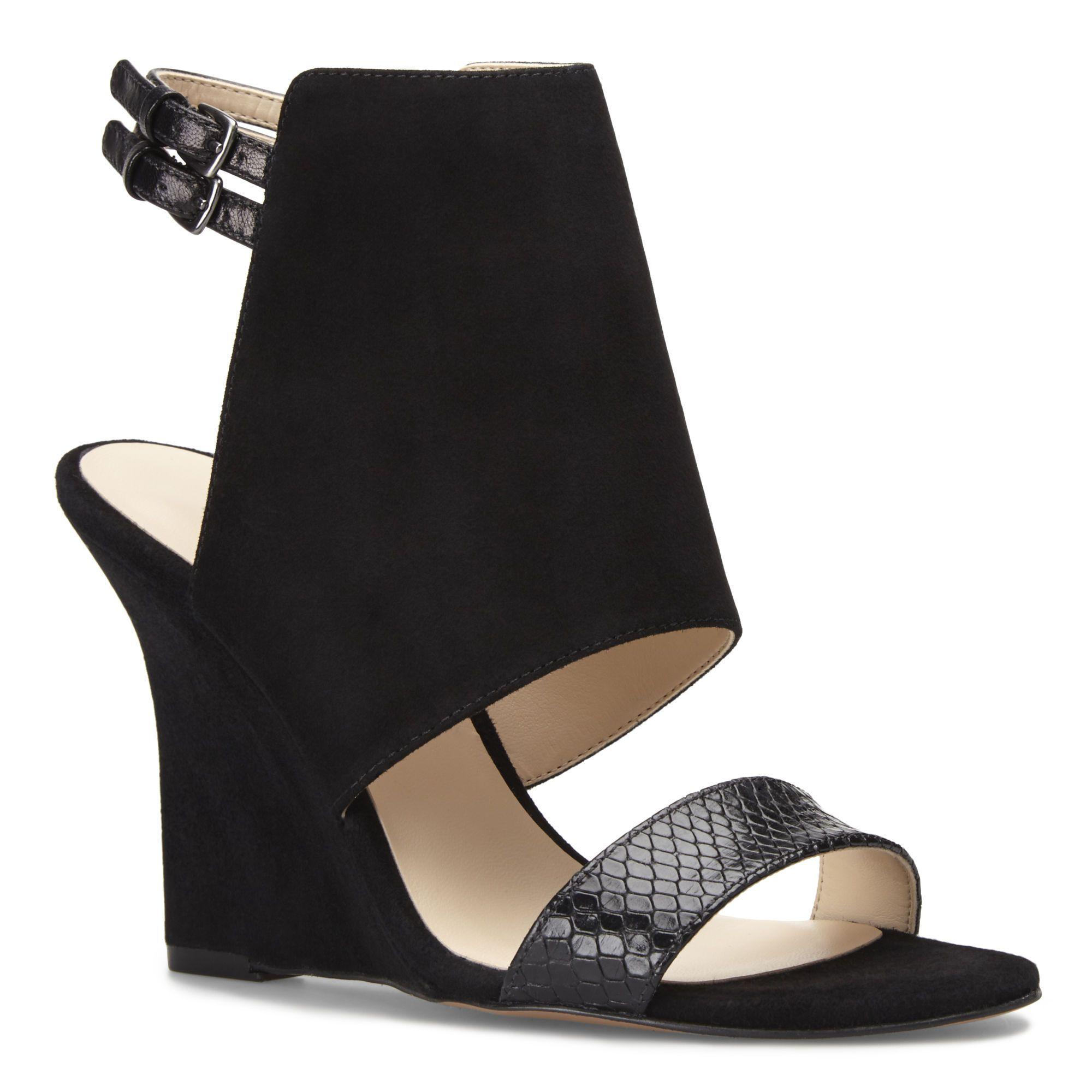 Black sandals nine west - Black Faux Suede Bueta Ankle Strap Wedge Sandals Nine West
