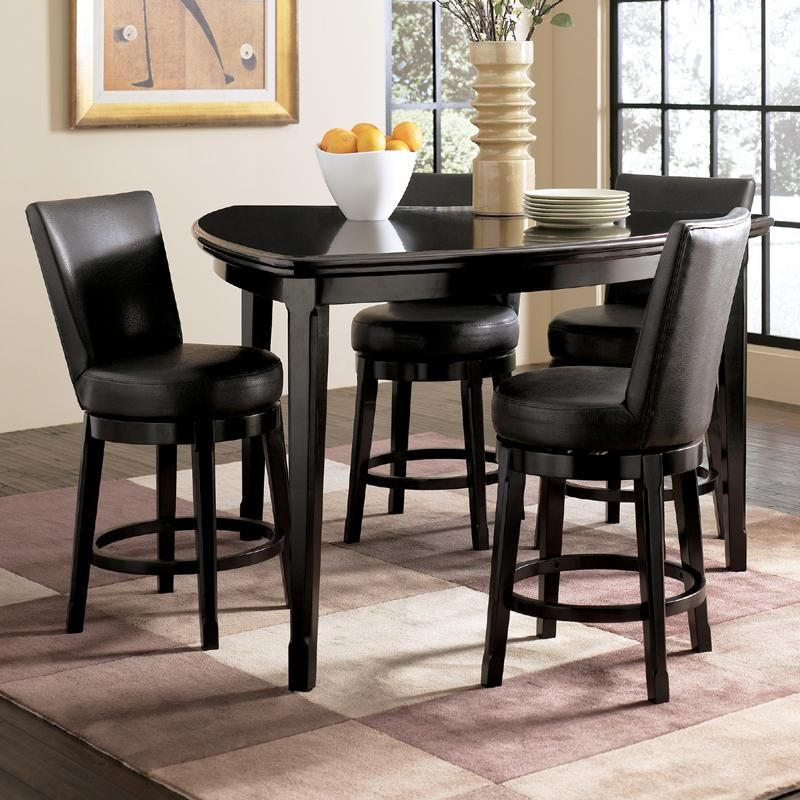 Emory 5 Piece Triangle Counter Height Table With 4 Upholstered Swivel Bar Stools By Ashley