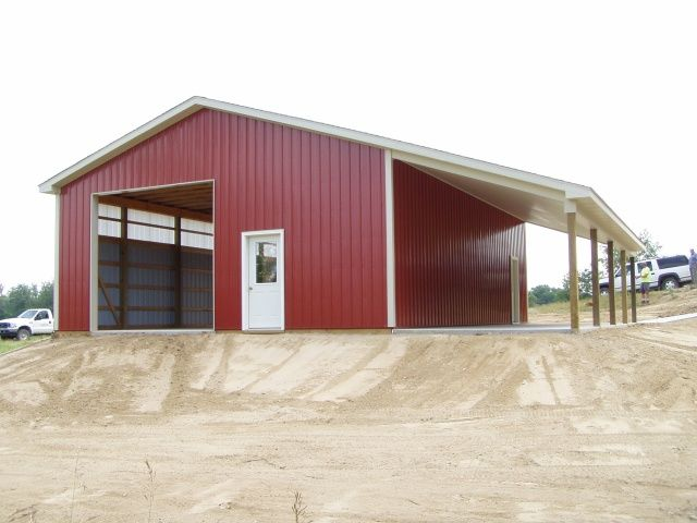 Images of pole barn with lean to 30 39 x 40 39 x 12 39 wall for Garage portico
