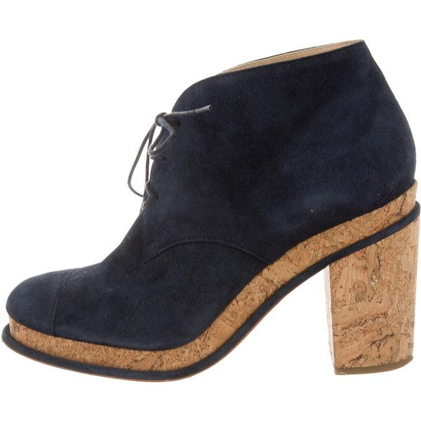 facbafa45b4b Pre-owned Chanel Suede Round-Toe Booties ( 525) ❤ liked on Polyvore ...