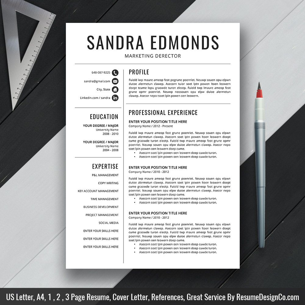 Instant Download: The Sandra Resume | Icon files, Professional ...