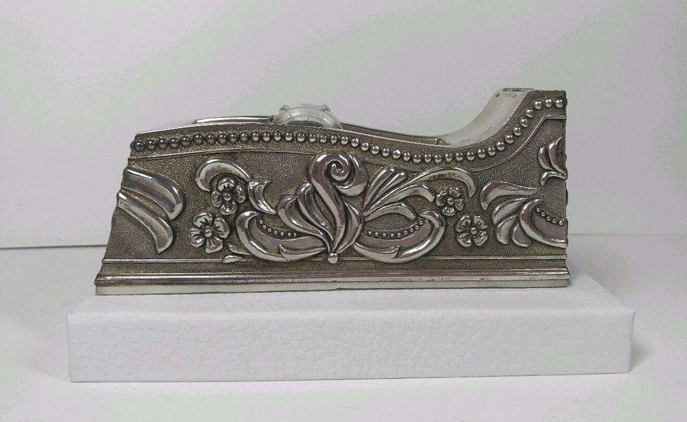 1991Vintage GODINGER Silver Art Damask Floral Leaf Office Desktop ...