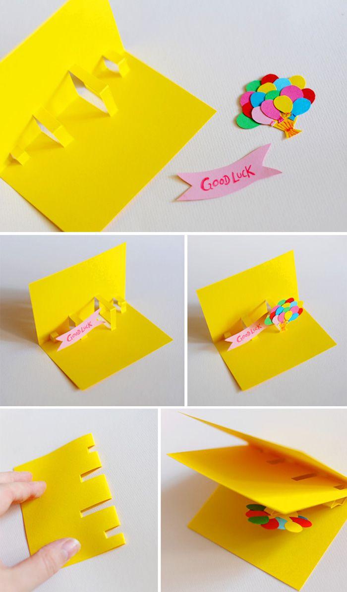 pop up karte basteln, luftballons aus buntem papier, klappkarte, basteln mit kindern, diy