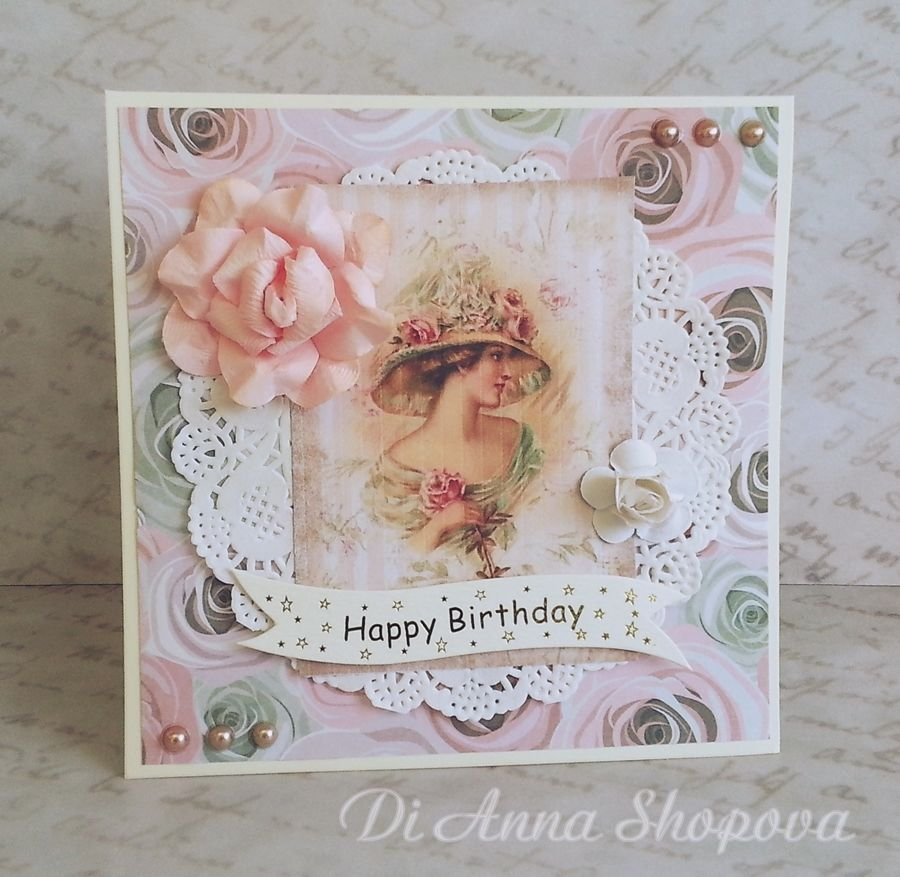 Luxury Handmade Birthday Card For Her Shabby Lace Chic Female