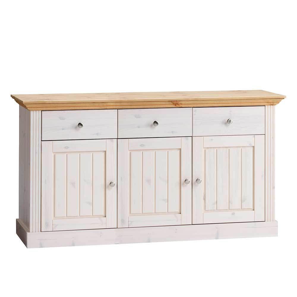 massivholz sideboard in weiß landhausstil jetzt bestellen unter ... - Wohnzimmer Weiß Landhausstil