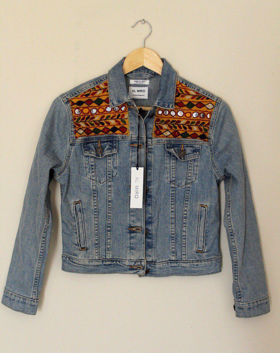 Custom Jean Jacket Women Embellished Denim Jacket Banjara Etsy Embellished Denim Jacket Embellished Denim Embroidered Jean Jacket [ 1200 x 950 Pixel ]
