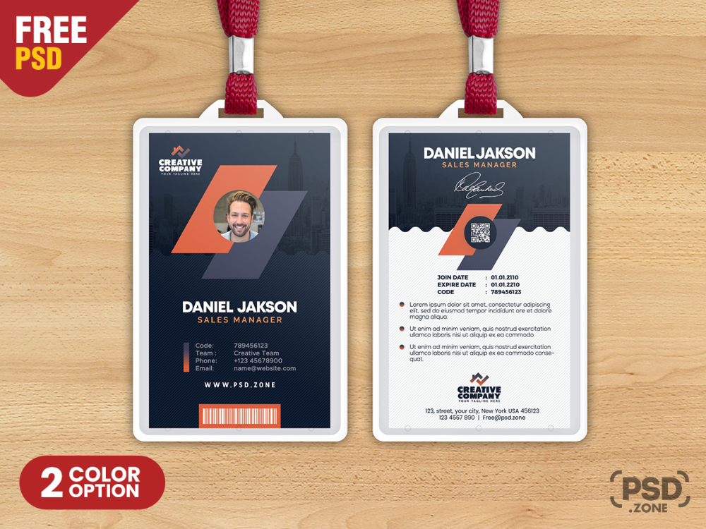 today's special freebie is office identity card psd