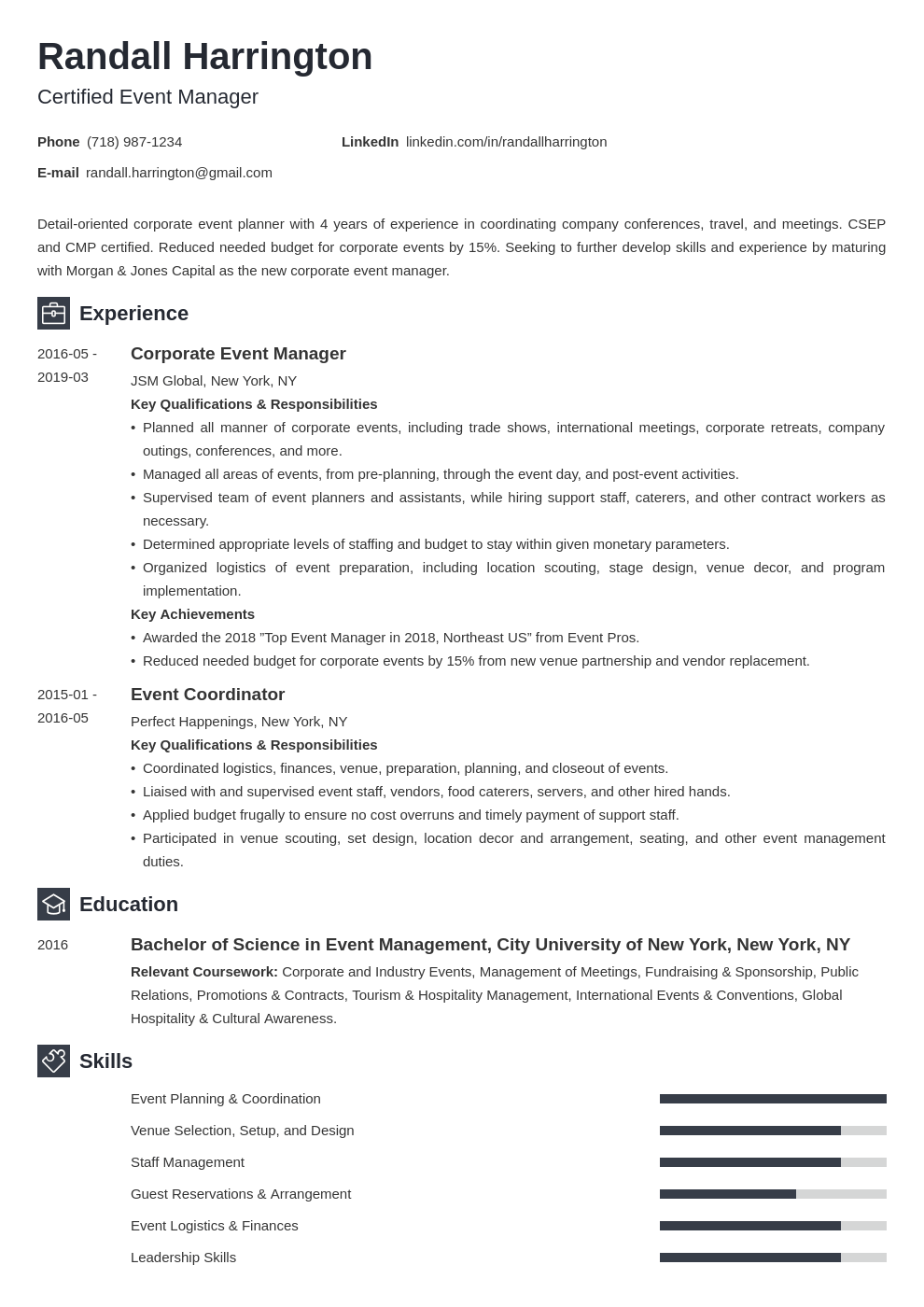 Event Manager Resume Example Template Newcast In 2020 Manager Resume Event Management Resume Examples
