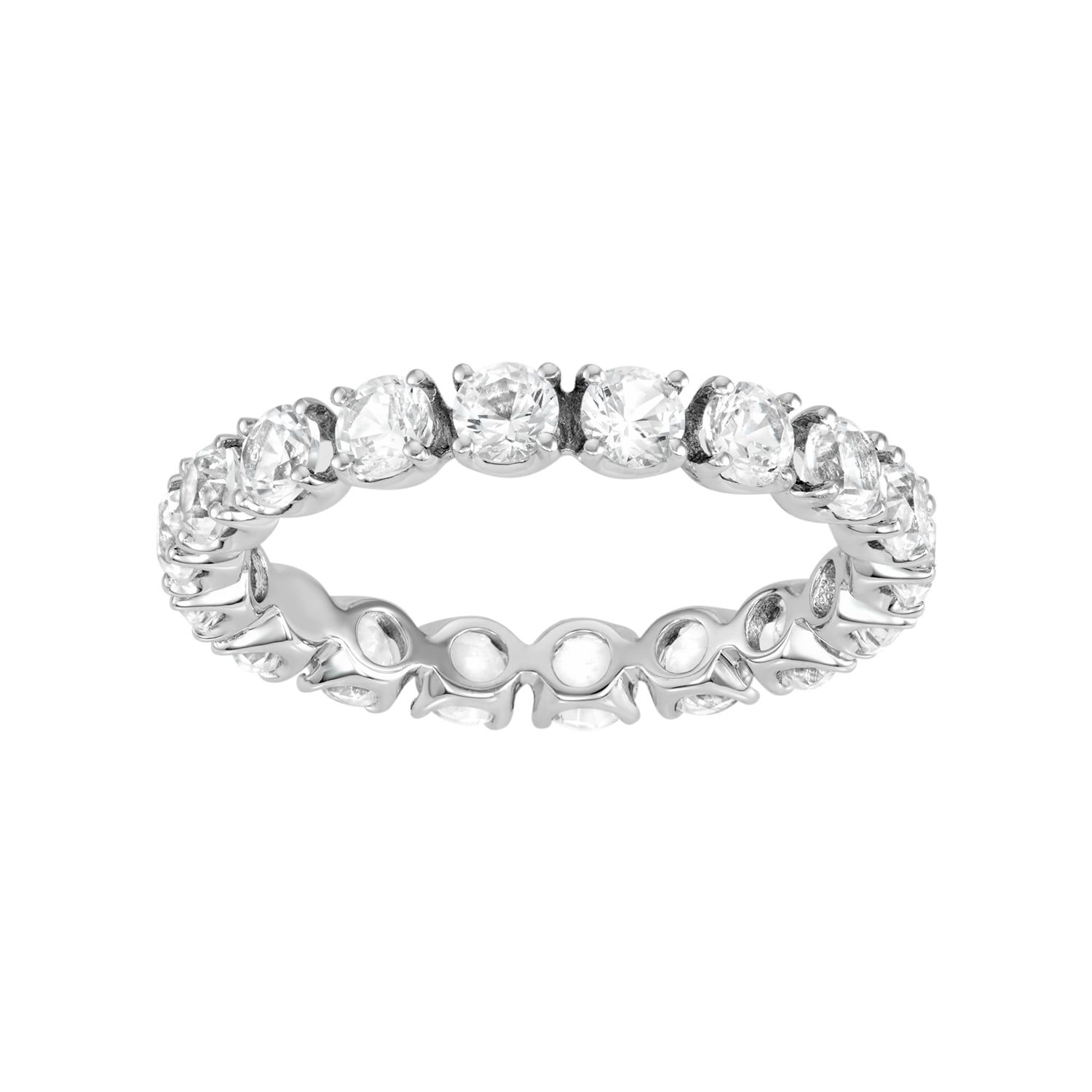 100 Facets Of Love 10k White Gold Lab Created White Sapphire Eternity Ring Eternity Ring Sapphire Eternity Ring White Sapphire