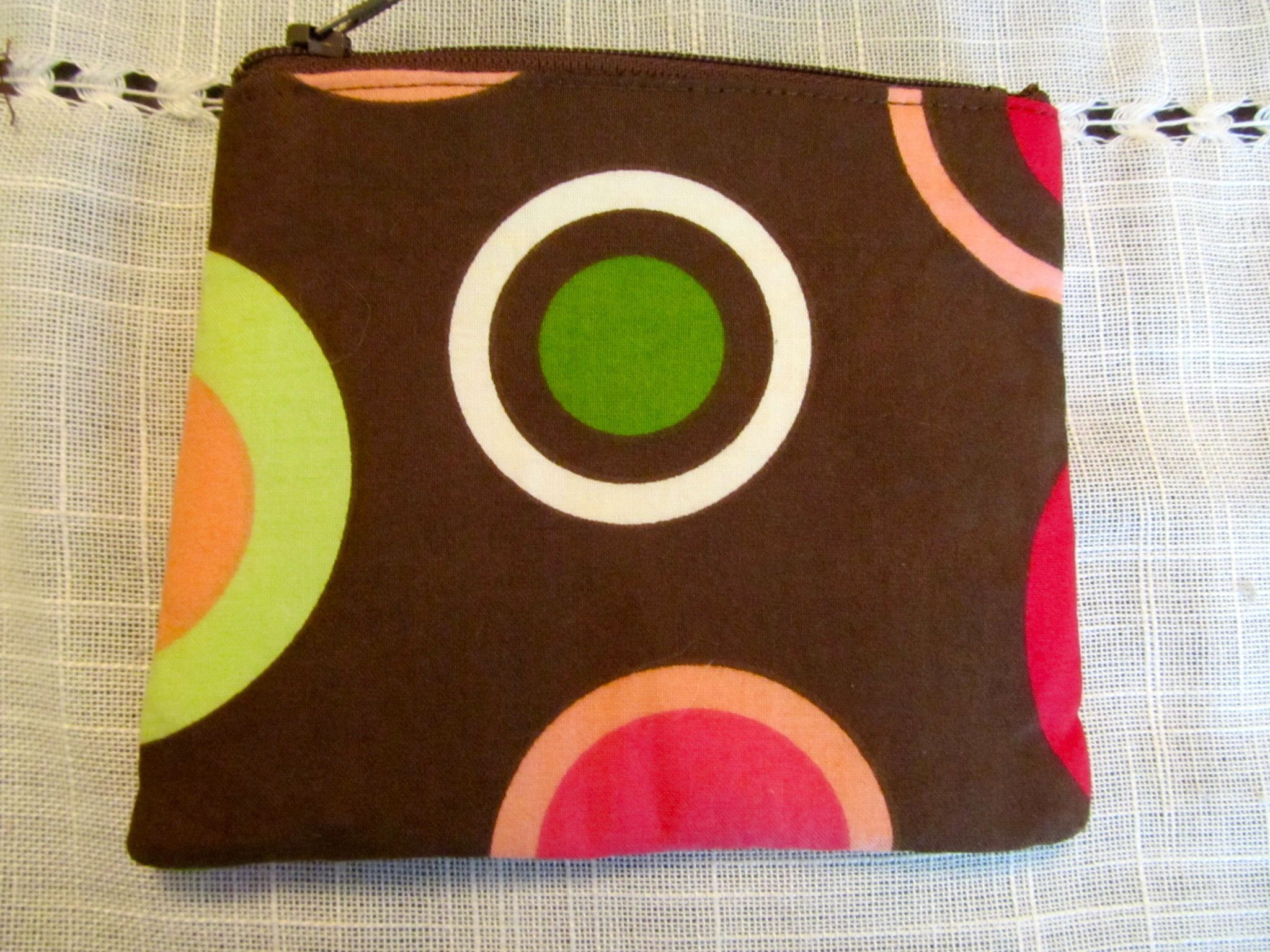 Abby #09 Chocolate Brown With Bright Circles, Accessory Bag, Wallet, Gift, Eco Friendly