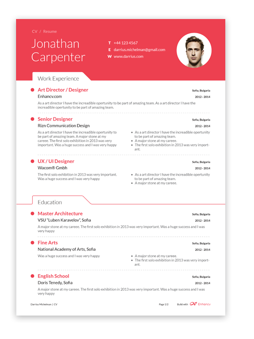 free professional resume builder