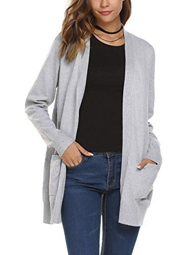 bd01a7f8477 Zeagoo Women s Casual Open Front Knit Cardigan Sweater wi...