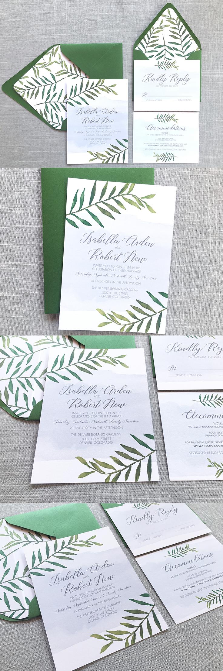 Greenery Wedding Invitations - Botanical Wedding Invitations ...