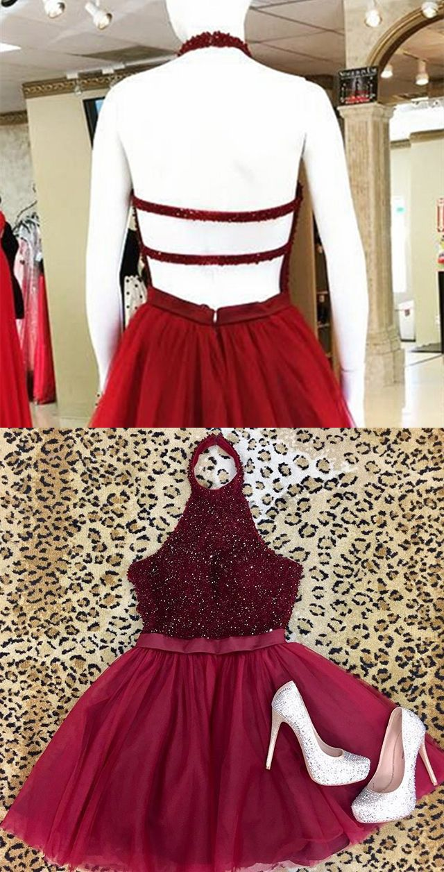 6c92028414b A-Line Halter Backless Short Burgundy Tulle Homecoming Dress with ...