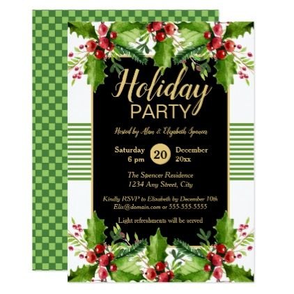 Boughs Of Holly Holiday Party Invitation  Holiday Party