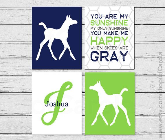 You Are My Sunshine Wall Art Baby Boy Shower Gift by ofCarola, $36.00