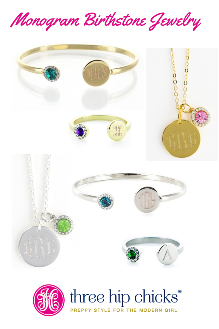 Our monogram birthstone jewelry makes a great gift for Mom, a BFF or bridesmaid!  Collection includes bangle bracelets, necklaces and rings in both gold and silver!