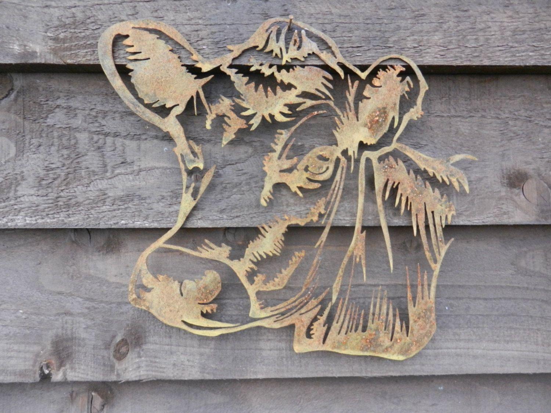 Cow Head / Cow Garden Art / Rusty Metal Art / Red Lincoln Cattle ...
