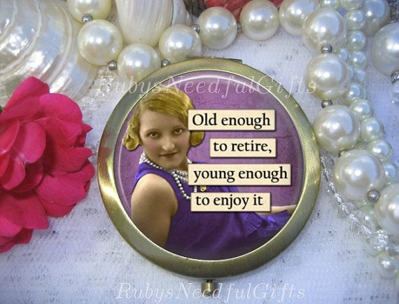 RETIREMENT Antique Bronze Compact Mirror by Rubys Needful Gifts on Etsy.