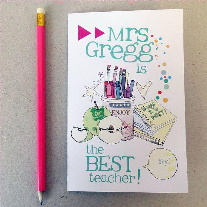 personalised thank you teacher card  teacher card ideas