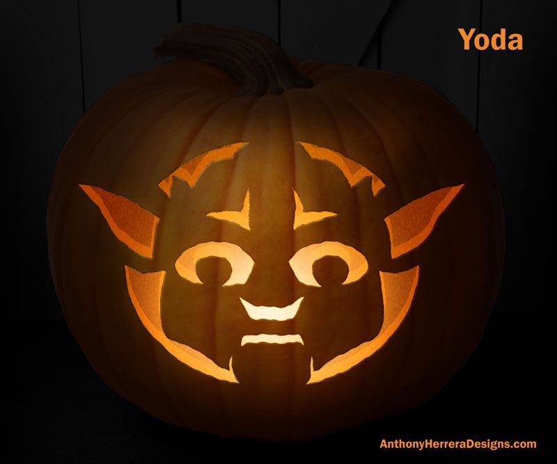 Print and Carve Out Star Wars Pumpkins. Yoda.