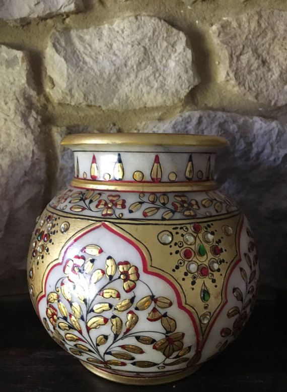 Marble pot with Traditional Hand-crafted Meenakari and by Sajavat