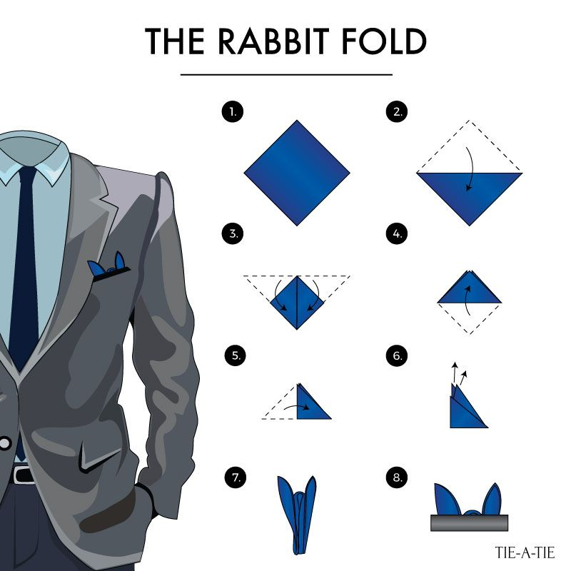 8f2e3178be617 Bold ways to wear your pocket squares: with the rabbit (aka bunny) fold