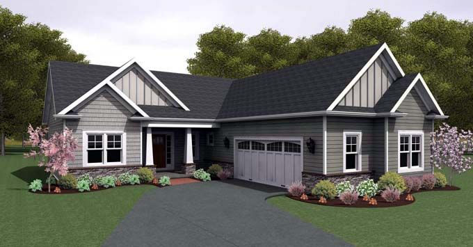 Ranch house plan 54106 like the l shape and exterior for L shaped ranch plans