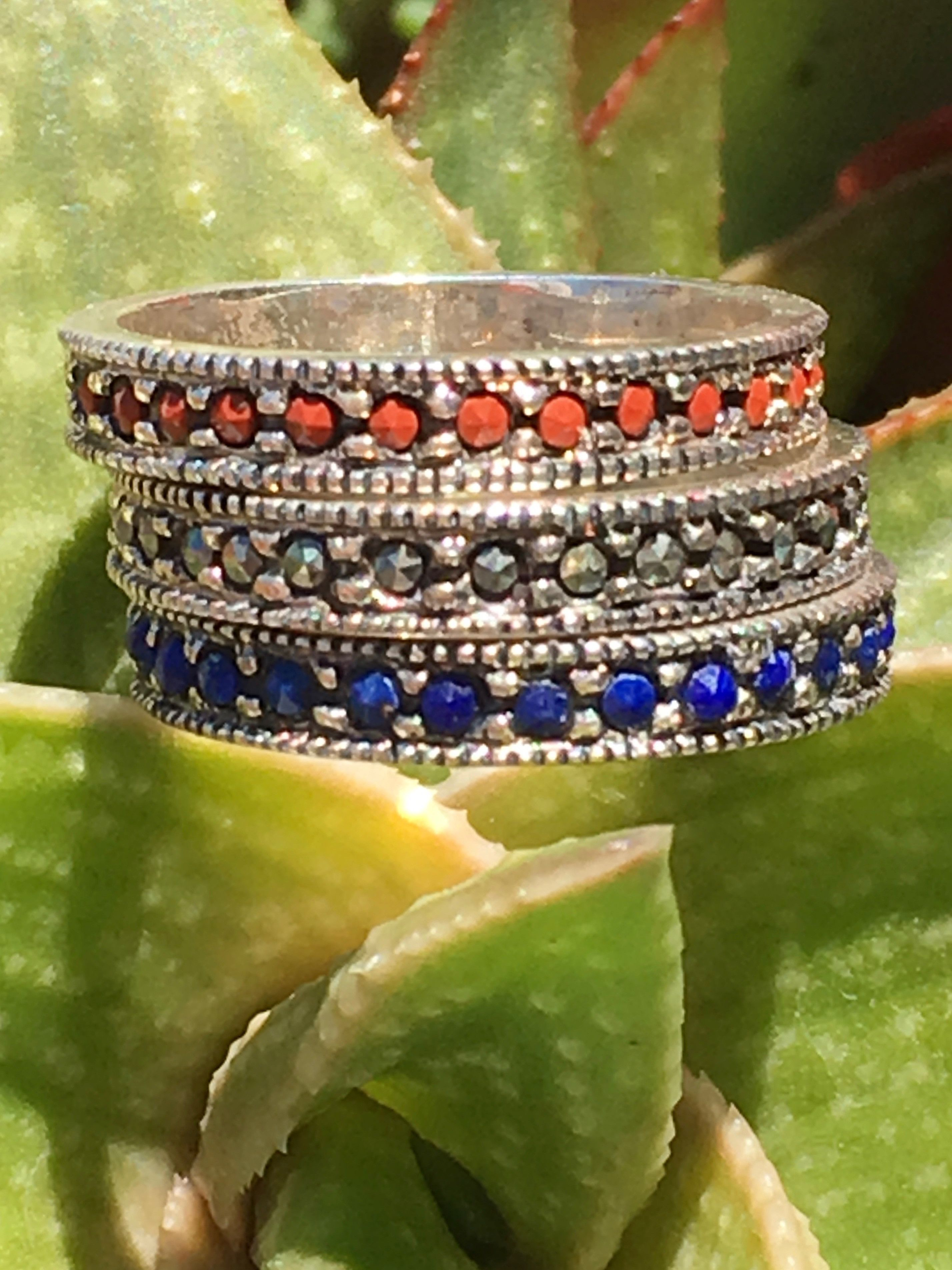 Stacking Ring Set Marcasite Cinnabar and Lapis Lazuli Size: 5