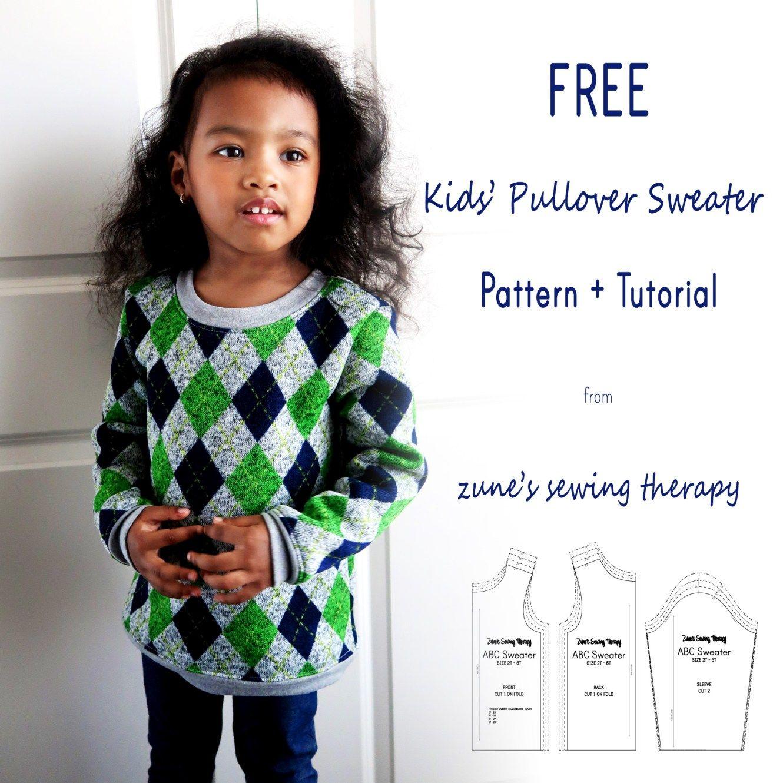 Free Kids Pullover Sweater Pattern Tutorial Toddler