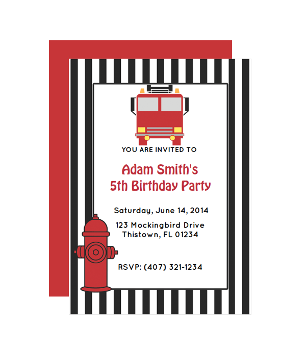 Fire Truck Party Invitation – Fire Truck Birthday Invitation