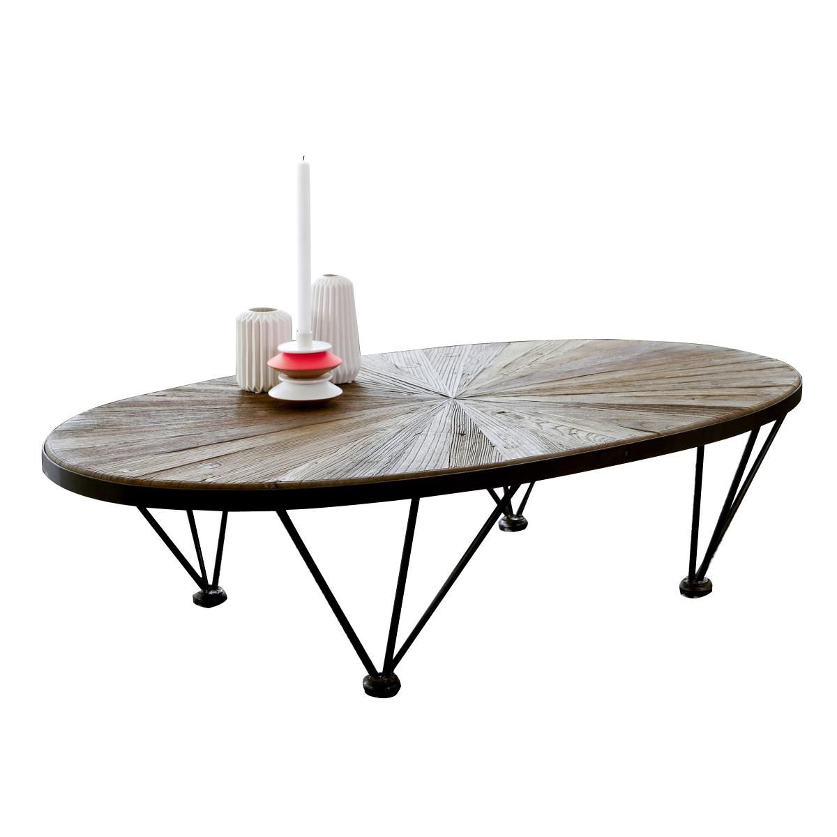 Métal LancelotHome En Orme 140x80 Table Basse Et 3F1JlKucT
