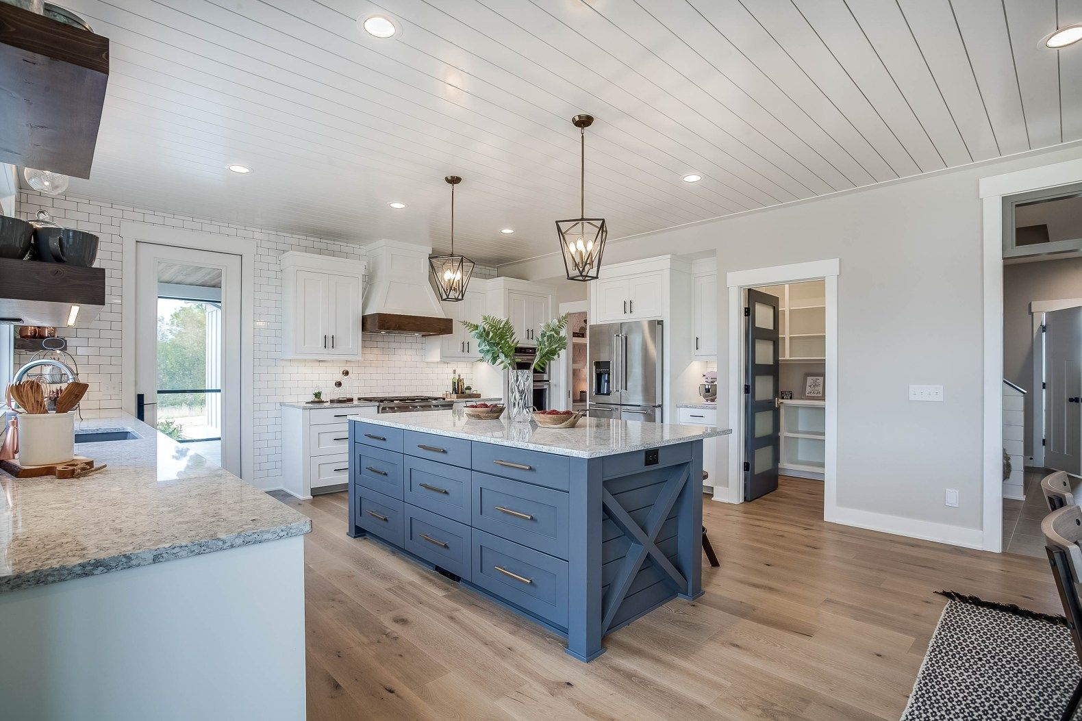 Modern Farmhouse Kitchen With Gray Blue Painted Kitchen Island