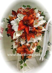 Burnt Orange Orange Shades Flowers & Lilies Cascading Bridal Bouquet
