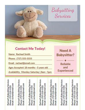 Printable Babysitting Flyer Template    Babysitting I